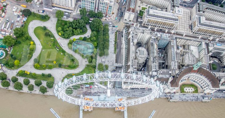 Aerial shots of the London Eye
