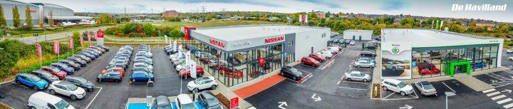 Aerial Panorama Photos for the new Dartford Skoda & Nissan dealership.